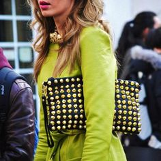 Accessorize with a clutch purse ..love this color