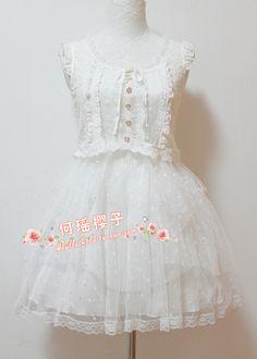 [Clara LIZ LISA】 original the single gauze Shuiyu little lace lace Puff Dress ~ Special - Taobao