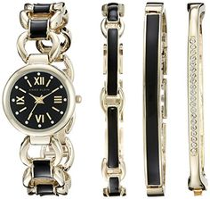 Anne Klein Womens AK1982BKST Swarovski CrystalAccented GoldTone and Black Watch and Bracelet Set *** Find out more about the great product at the image link. (This is an affiliate link and I receive a commission for the sales)