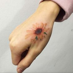 Sunflower Tattoo on Hand by Ilwol