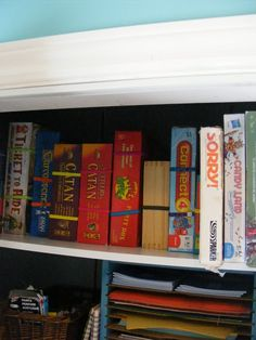 Use headbands to hold board games together and store sideways for easy access without spillage.
