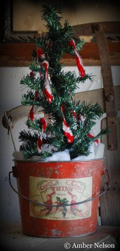 Old Red Bucket...with a prim pine...and grungy candy canes.