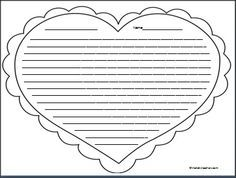 Pretty Heart Writing Template With Lines Images >> Printable Heart ...