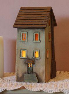 Clay House #4   Harry Tanner Design    Ceramic night lite or garden sculpture