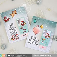 Flip Slider with Vera (mama elephant Slider Cards, Flip Cards, Fancy Fold Cards, Cute Cards, Christmas Cards To Make, Xmas Cards, Holiday Cards, Santa Stamp, Waterfall Cards