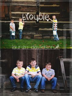 Photo ideas for brothers! Boy sibling picture ideas. Photo shoot with young boys. School age boy photos. How to get great pictures with rowdy boys - by catching candids! Photography ideas to capture boys playing and acting natural. How to take good pictures of boys who won't cooperate (although those boys did an awesome job!) Boy picture ideas. Brothers. Unique, cool, cute, awesome picture ideas for boys in the summer. Have them pretend to paint and Photoshop in cute words!