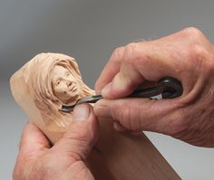 It can be difficult to carve the subtle features of a woman's face. Carving by Harold Enlow. Learn more about the projects in Woodcarving Illustrated Summer 2016 (Issue 75) at http://woodcarvingillustrated.com/blog/woodcarving-illustrated-summer-2016/.