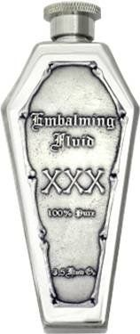 "Amazon.com: ""Embalming Fluid XXX"" Pewter Emblem Coffin Flask Mirror Finish: Kitchen & Dining"