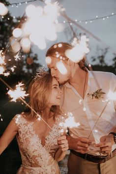 Why rush? Have fun with your sparklers! Fun wedding ideas, wedding exit inspiration, sparkler photos