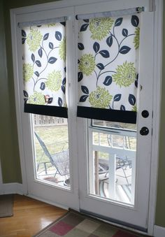 Ideas french door curtains diy home for 2019 Roll Up Curtains, French Door Curtains, Diy Curtains, French Doors, Window Curtains, Valance, Sewing Curtains, Diy Blinds, Room Window