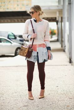 Not necessarily in love with this outfit but do like the idea....long tunic/dress under thin sweater and over slim pants.