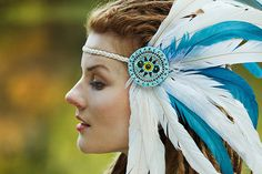 White and blue feather headdress Morning Sky Feather Crown, Feather Headpiece, Blue Feather, Tribal Warrior, Morning Sky, Limited Collection, Boho Fashion, Boho Style, Aztec