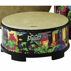 """Remo Kid's Percussion is the leader in elementary drumming! Kid's Gathering Drum 16""""d x 8""""h mallet included. KD581601"""