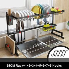 Material: Metal Black Stainless Steel Kitchen Dish Rack U Shape Sink Drain Rack Two layers Kitchen Shelf Kitchen Supplies Storage Holder Specification: Material: stainless steel Size: as picture Package Included: 1 Set Dish Rack Kitchen Rack, Kitchen Dishes, Kitchen Storage, Diy Kitchen, Stainless Steel Paint, Stainless Steel Kitchen, Kitchen Space Savers, Dish Racks, Kitchen Supplies