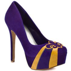 FINAL SALE NO EXCHANGES OR RETURNS A classic pump with attitude. The Classic by HERSTAR™ platform pump representing purple and yellow team colors. This style is available in beautiful, rich shades for