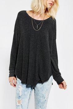 Sparkle & Fade Cozy Drop-Shoulder Top - M - Black