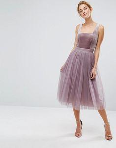 Little Mistress | Little Mistress Tulle Midi Dress with Velvet Bodice