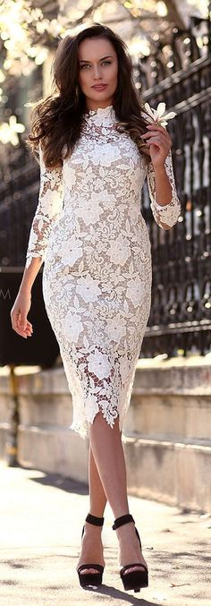 White Lace Mini Dress with Ankle Strap Heels -  Po...