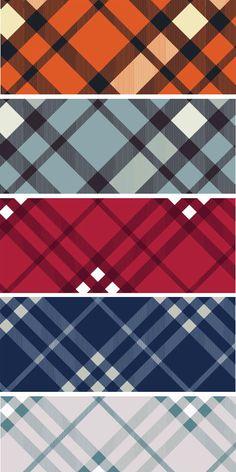 25枚の色鮮やかなプレイド柄チェックパターン「25 Woven Plaid Patterns」無料ダウンロード