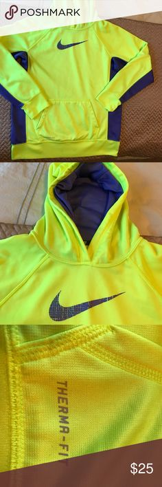 Nike Hoodie, yellow and purple size XL No issues, great condition Nike XL hoodie. No stains thermal Nike Shirts & Tops Sweatshirts & Hoodies