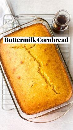 Buttermilk Cornbread, Cornbread Cake, Homemade Cornbread, Baking Recipes, Nana Bread Recipes, Recipes With Buttermilk, Best Bread Recipe, Biscuit Bread, Potato Bread