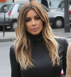 Kim Kardashian's Ever Changing Do' - Carmel Smokey Blonde Base.
