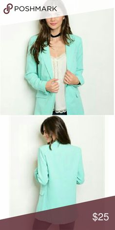 Mint Blazer Long sleeve   button front closure longline blazer. The fabric content is 100% polyester. They come from a pet free/ smoke free home. The color is mint. I have them in sizes s, m, l. Check out my closet for other colors/ styles+ more added soon. Jackets & Coats Blazers