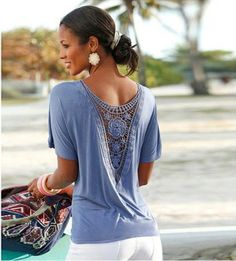 Trendy Lovely Back Lace Stylish T-Shirt