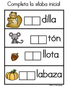 Spanish vocabulary cards for fall. Writing Center. Word Wall. Literacy Center activities