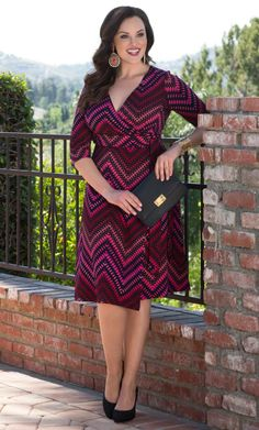 Our plus size All Work and Play Wrap Dress is a classic silhouette in a fun zigzag design.  The fully functional wrap style allows for a custom fit, while the fun print gives it another life.  Find your prints charming at www.kiyonna.com.  #KiyonnaPlusYou  #MadeintheUSA