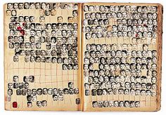 Walid Raad & Akram Zaatari // Mapping Sitting - Studio Soussi portrait index, (Sidon, Lebanon), 100 pages, approximately 150 portraits on each page // Collection of the Arab Image Foundation