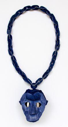 Noon Passama Necklace: Portrait # 9, 2013 Pendant part: antelope fur. Chain part: horse fur. Eyes: platinum plated silver 8.9 x 9.3 x 8.4 cm...