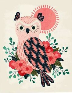 'Owl and Blossoms' by Eine Kleine Design Studio