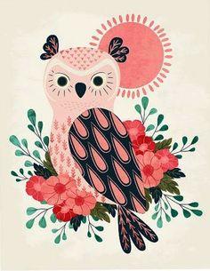 'Owl and Blossoms' by Eine Kleine Design Studio