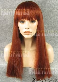 Reddish Brown / Ginger Cute Bangs Style Synthetic Wefted Wig - All Synthetic Wigs Red Lace Front Wig, Straight Lace Front Wigs, Synthetic Lace Front Wigs, Synthetic Wigs, Wig Hairstyles, Straight Hairstyles, Haircuts, Cheap Real Hair Wigs, Cute Bangs