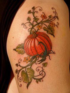 38 Amazing Halloween Tattoo Designs Ideas For Women That Looks Charming - Fall Leaves Tattoo, Autumn Tattoo, Leg Tattoos, Body Art Tattoos, Sleeve Tattoos, Color Tattoos, Tatoos, Tattoo Designs For Women, Tattoos For Women