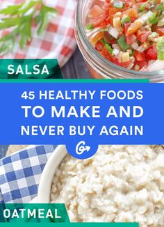 <p>Put down the pre-packaged eats! Good, healthy food doesn't have to cost an arm and a leg. Make it from scratch to save a ton of dough (pun intended).</p> #DIY #healthy #foods https://greatist.com/health/45-healthy-foods-make-and-never-buy-again
