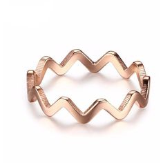 Classic Bijoux 18K Rose Gold Plated Filled Zig Zag Ring found on Polyvore featuring jewelry, rings, rose gold plated jewelry, 18k ring, zig zag jewelry, 18 karat gold ring and 18k jewelry