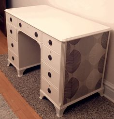 ReLoved and UpCycled - Wallpapered Cream Wood Desk - 8 drawer