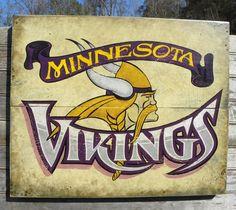 Minnesota Vikings Print & Mat, original art, sports decor, Vikings football, wall hanging, vintage. $15.00, via Etsy.