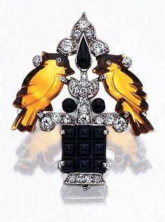 Cartier Carved Citrine, Black Onyx and Diamond Love Bird Brooch