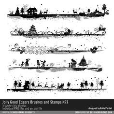 - Jolly Good Edgers Brushes and Stamps No. 07 Digital stamps with christmas scenes in photoshop ABR files and PNG file #designerdigitals