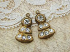 Vintage Art Deco Brass and Crystal Rhinestone Drops Dangles Charms - 2 by alyssabethsvintage on Etsy