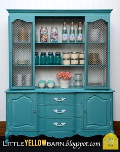 I can use my yellow dresser as the base and add a similar top- paint it the same as this with some antiquing. Beautiful for a Kitchen beverage center!