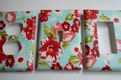 Your Choice of One Decorative Switch Place Covers, Lighting, Lighting Decor, Red and Aqua, Cottage Chic, Romantic Home, Home Decor. $5.00, via Etsy.