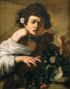 Menino mordido por lagarto.  Caravaggio.  Oleo sobre tela.  65,8 X 52,3  1595 - 1596