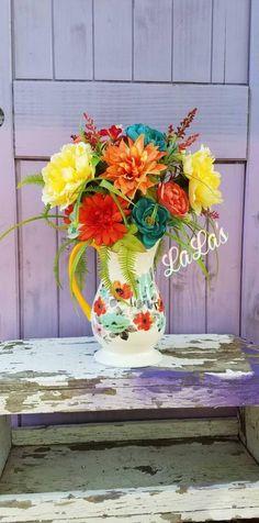Pioneer Woman Flea Market Pitcher - Silk Flower Centerpiece - Floral Table Arrangement