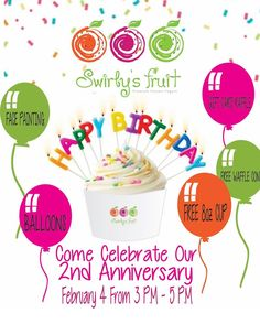 Bring your friends and family to Swirly's Fruit for a great celebration! #frozenyogurt #swirlys #froyo #birthday #balloons