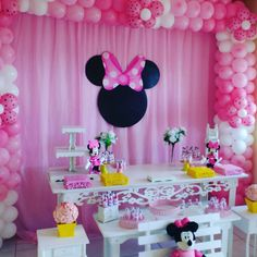 Minnie Mouse Birthday Decorations, Minnie Mouse First Birthday, Red Minnie Mouse, Minnie Bow, Kids Party Decorations, First Birthday Parties, Baby Shower Decorations, First Birthdays, Mouse Parties