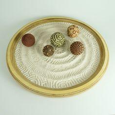 """Tabletop Modern Zen Garden: Scholar Package, 15"""" Circular Wooden Tray, 24oz Sand & 5 Cement Spheres  A mini zen garden for a tabletop centerpiece or a fun conversation starter for the coffee table."""